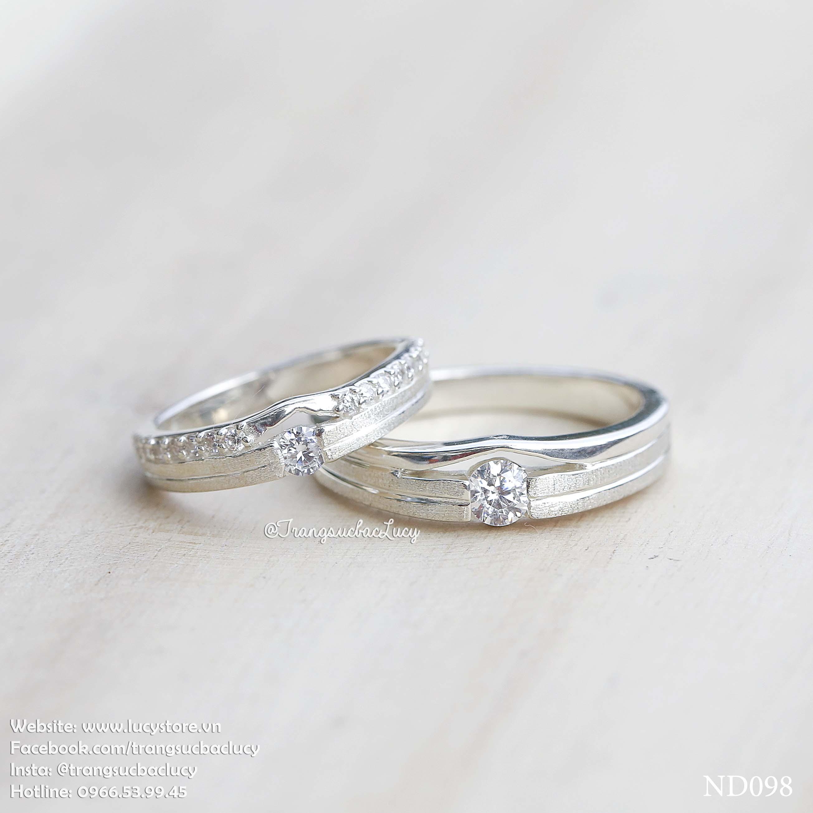 Nhẫn đôi nhẫn cặp Bạc Lucy - ND098