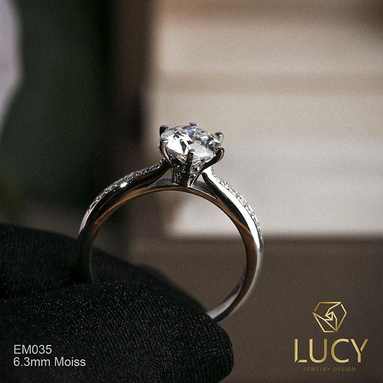 EM035-6.3mm Nhẫn nữ thiết kế, nhẫn ổ kim cương 6.3mm, nhẫn cầu hôn, nhẫn đính hôn, nhẫn nữ vàng - Lucy Jewelry