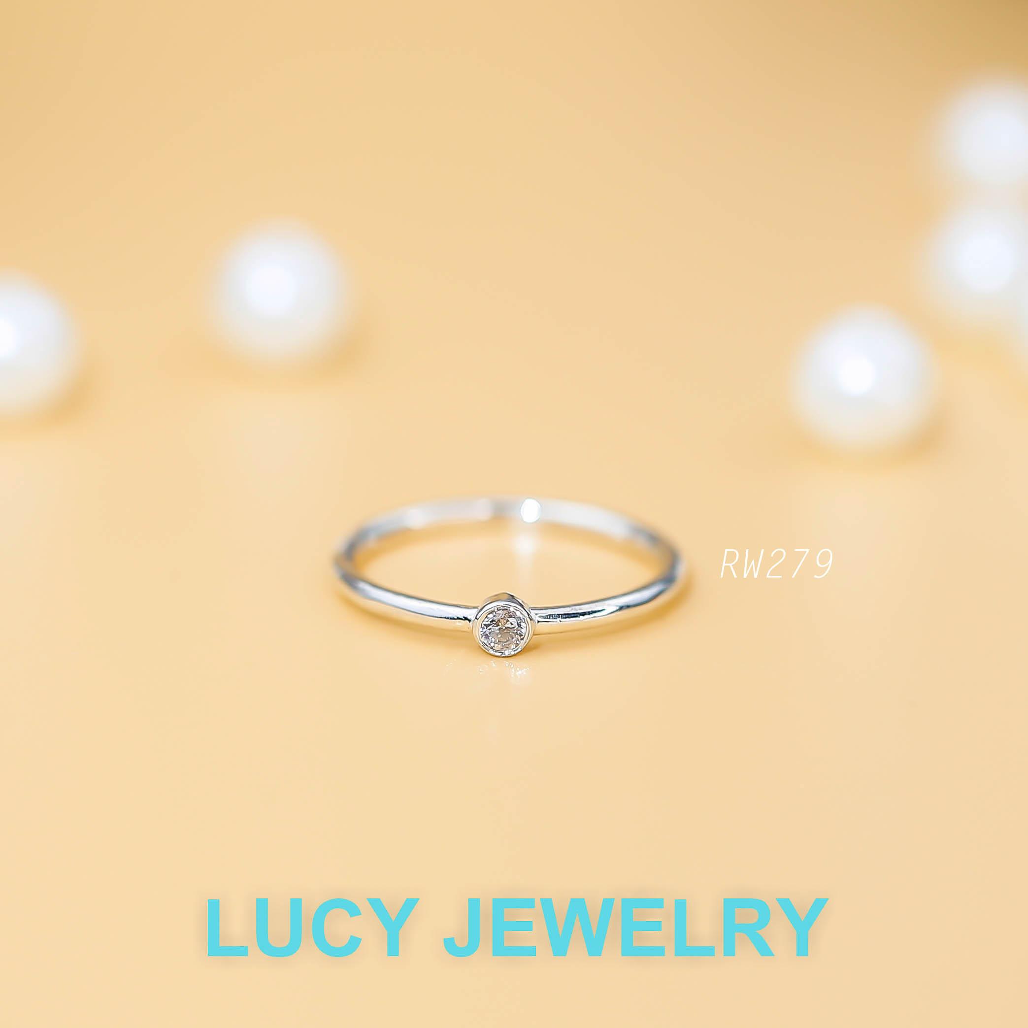 Nhẫn bạc đẹp, nhẫn tối giản, đá nhỏ RW279