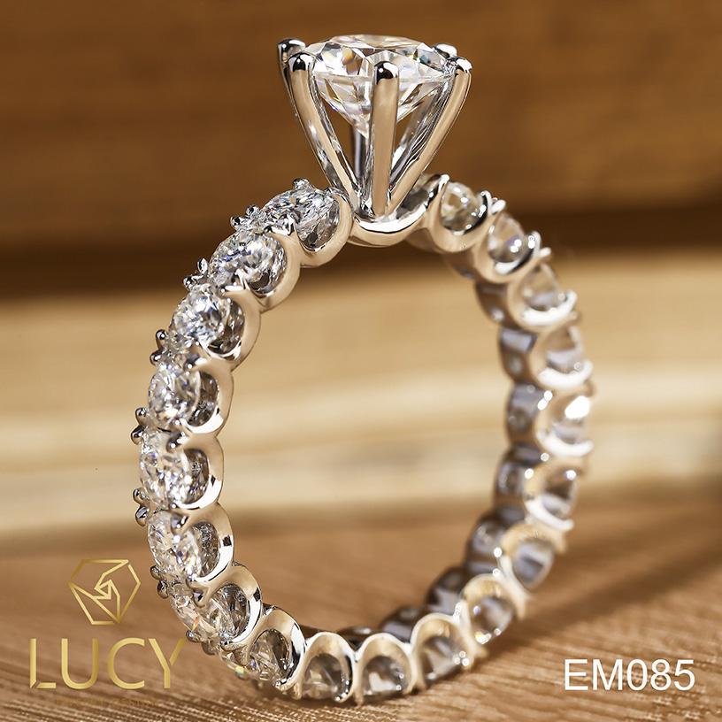 EM085 Nhẫn cầu hôn, nhẫn đính hôn, nhẫn kim cương 6.3mm 6.5mm, nhẫn nữ thiết kế đẹp - Lucy Jewelry