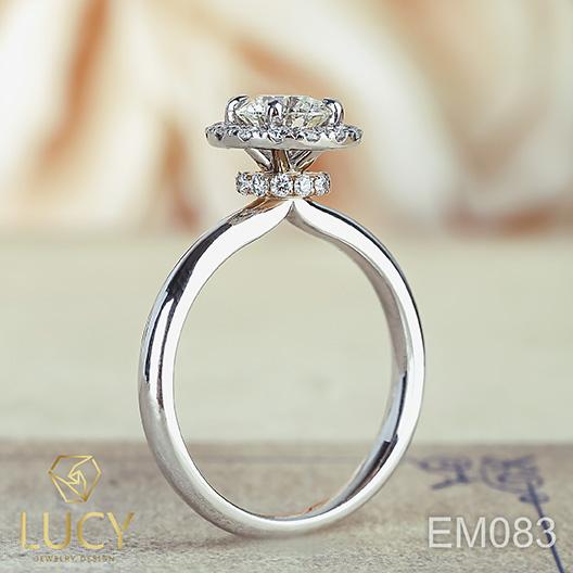 EM083 Nhẫn cầu hôn, nhẫn đính hôn, nhẫn ổ kim cương 5.4mm 5.5mm nhẫn vàng ghép 2 màu vàng trắng-vàng hồng hoặc Platinum-vàng hồng - Lucy Jewelry