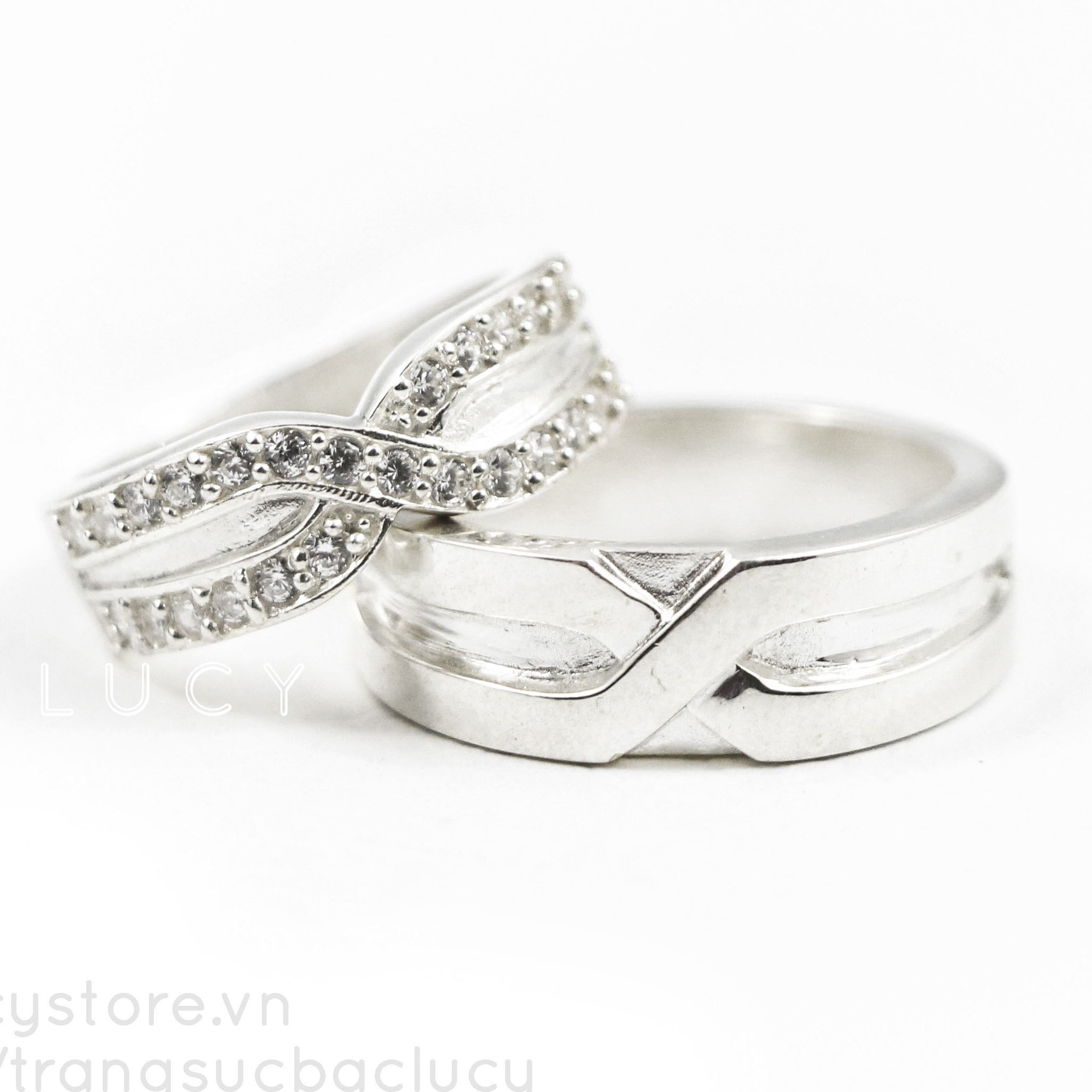 Nhẫn đôi vô cực bạc Lucy - ND000