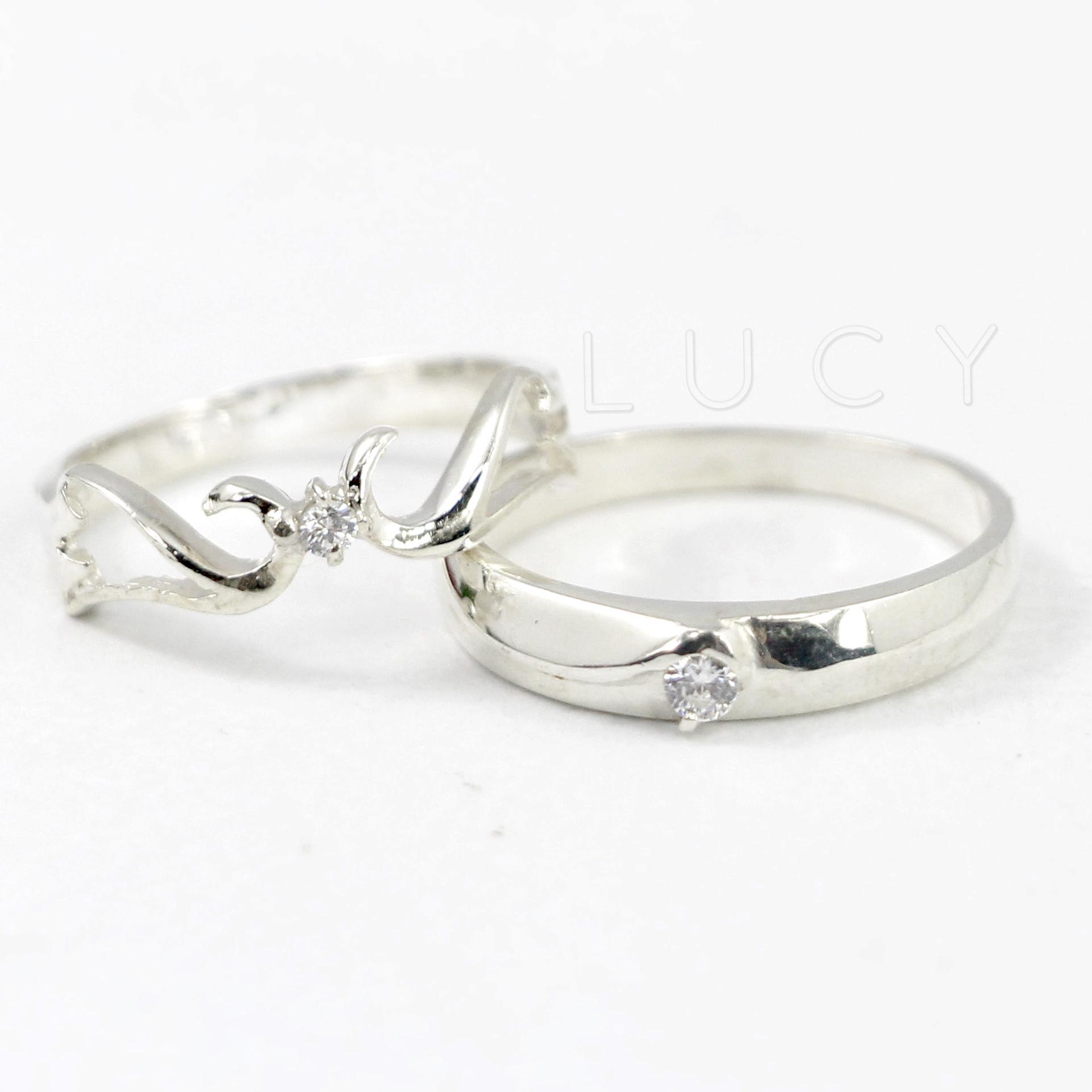 Nhẫn đôi nhẫn cặp bạc Lucy -  ND005