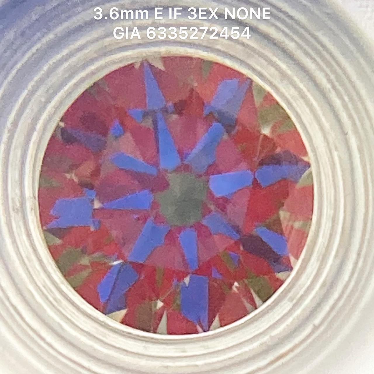 [ Hết Hàng] Kim cương thiên nhiên 3.6mm E IF 3EX NONE kiểm định quốc tế GIA mã số cạnh 6335272454- LUCYJEWELRY