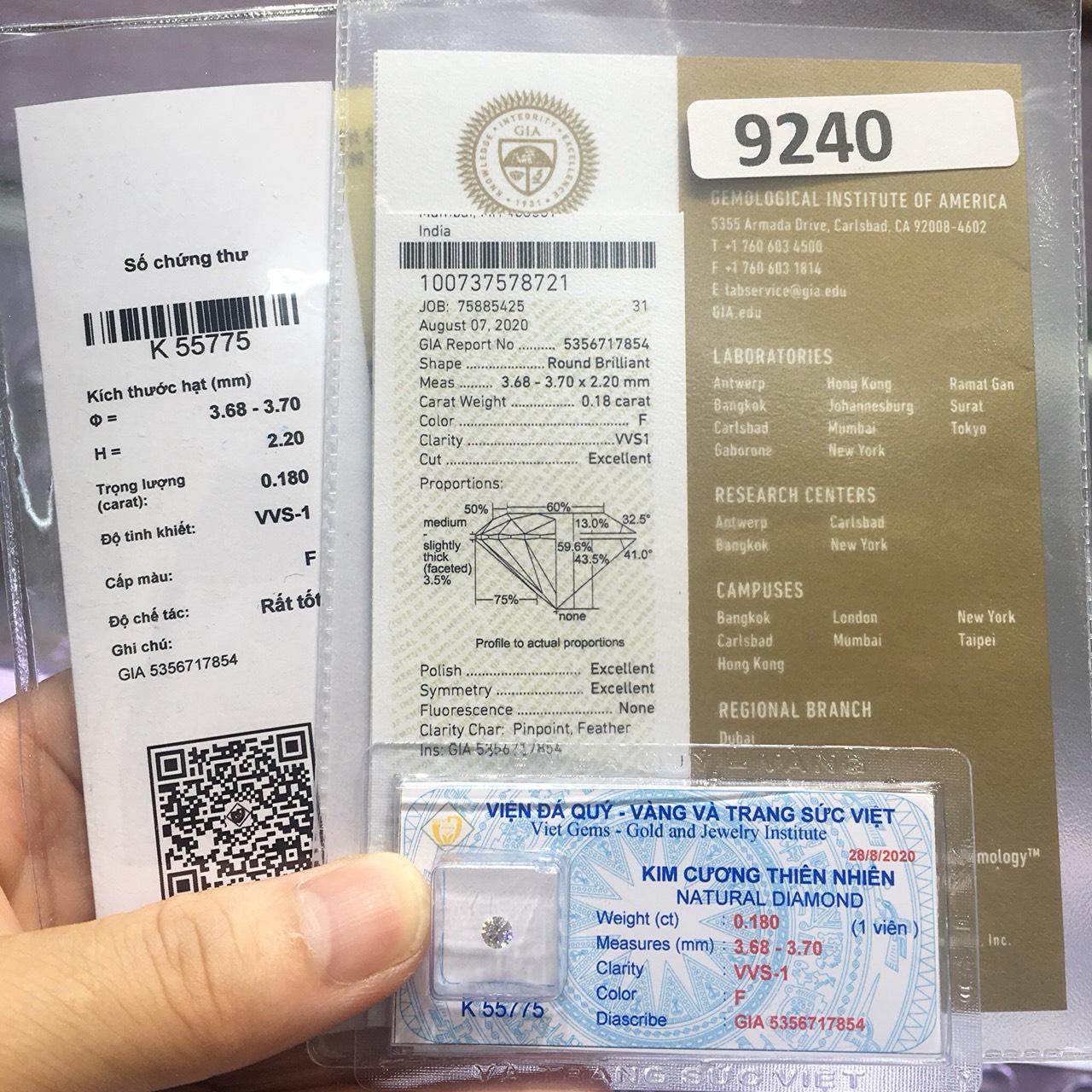 [Hết Hàng] Kim cương thiên nhiên 3.6mm F VVS1 3EX NONE kiểm định quốc tế GIA mã số cạnh 5356717854- LUCYJEWELRY