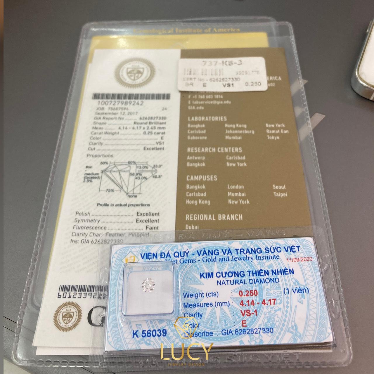 [ HẾT HÀNG ] Kim cương thiên nhiên 4.1mm E VS1 3EX FAINT kiểm định quốc tế GIA mã số cạnh 6262827330 - LUCYJEWELRY