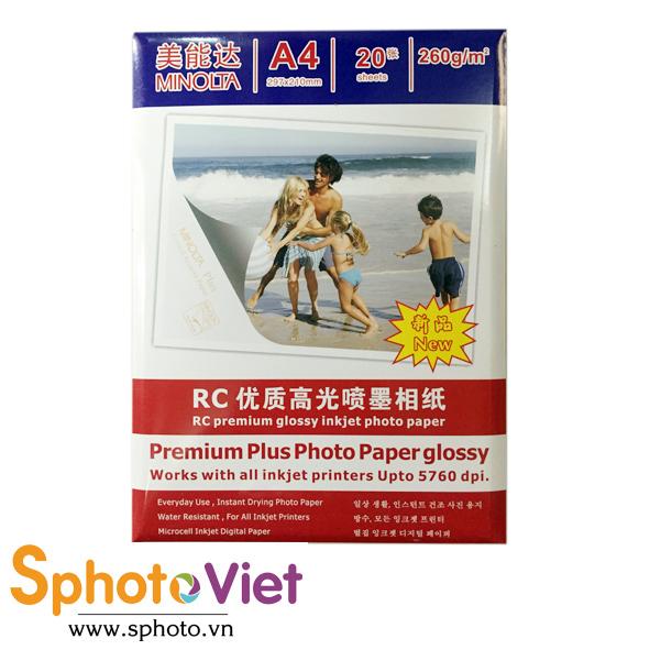 Giấy in ảnh Minolta RC glossy A4 - 260Gam