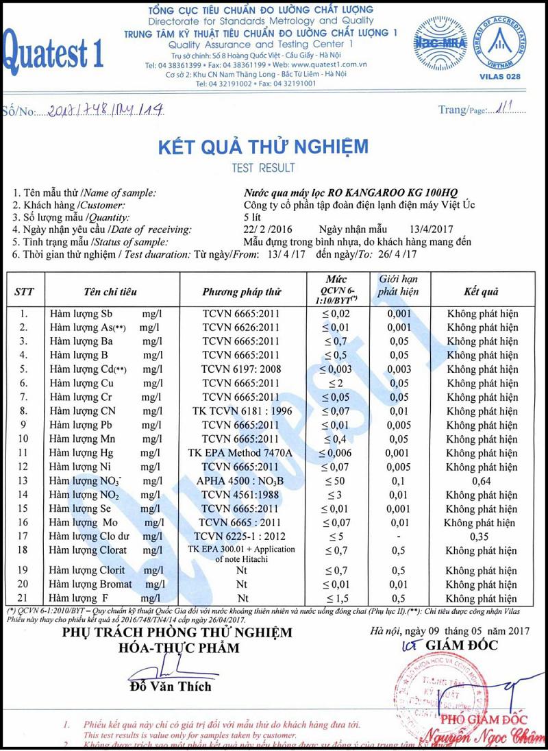 kết quả test nước Máy lọc nước Kangaroo Hydrogen KG100HQ
