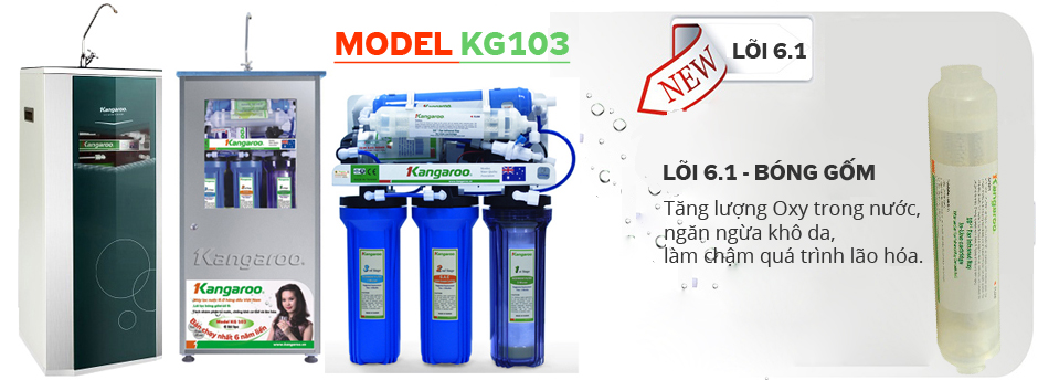 Máy lọc nước Kangaroo KG103 vỏ VTU, vỏ Inox và không vỏ