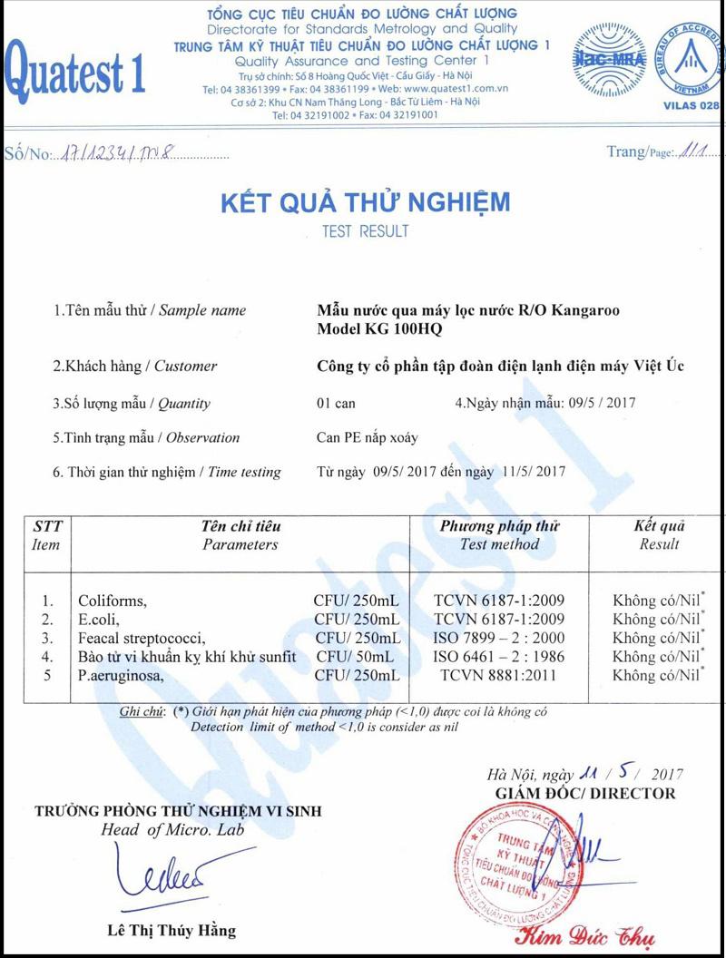 kết quả test nước 2 Máy lọc nước Kangaroo Hydrogen KG100HQ