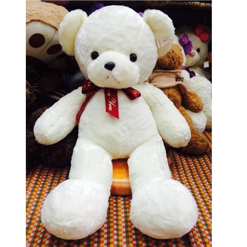 Gấu nhồi bông trắng tinh nơ đỏ dài 1m2