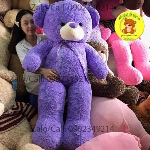 Gấu bông tím lông tim size 1m5