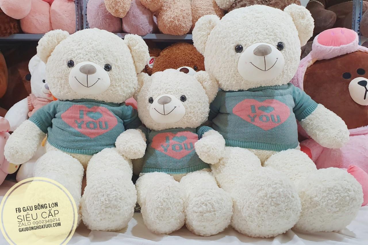 Gấu bông ngoại nhập màu trắng xinh xắn i love u