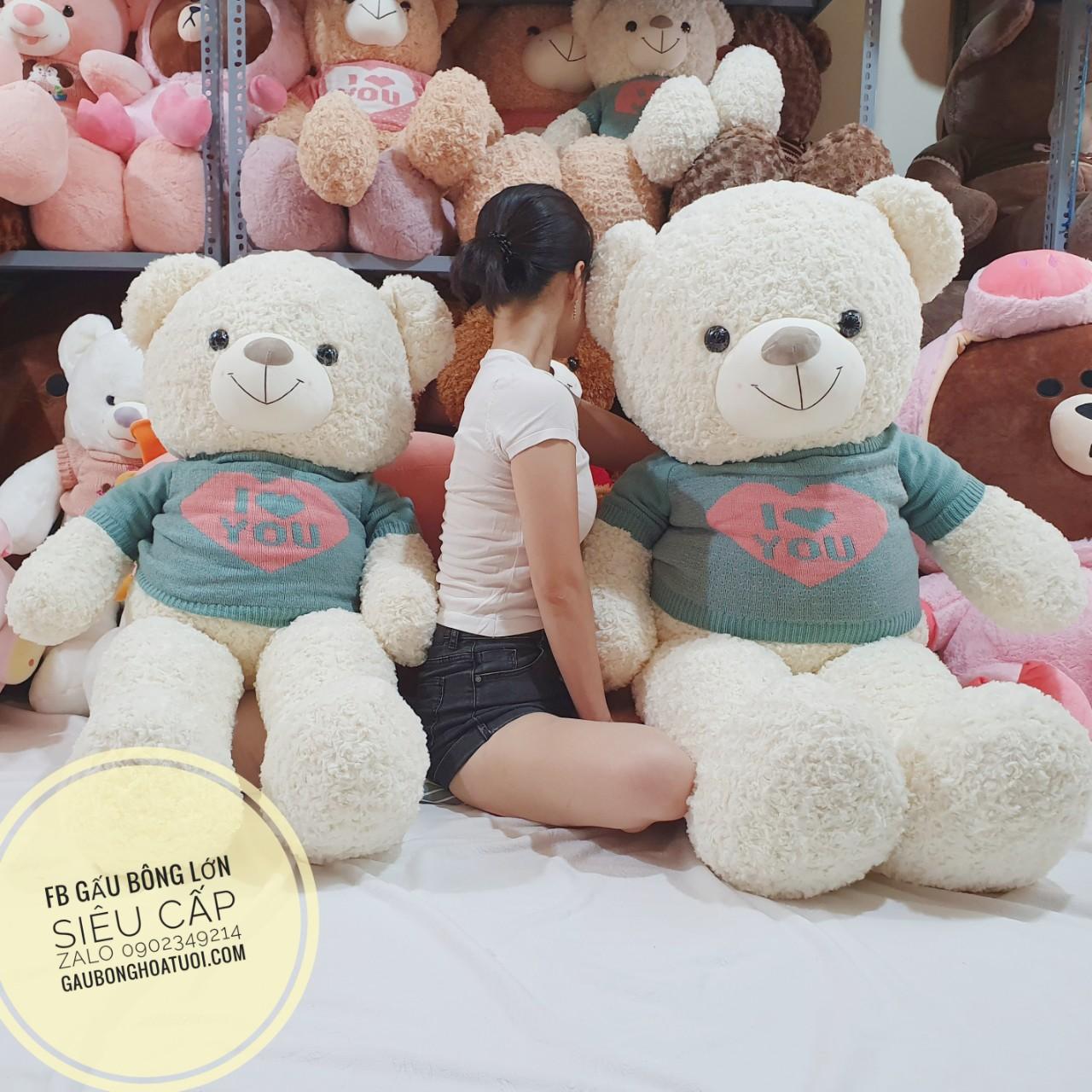 Gấu bông màu trắng xinh xắn i love u 1m7