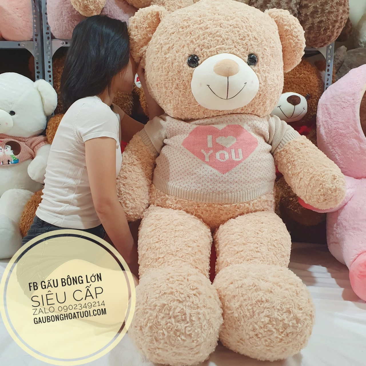 Gấu bông teddy xinh xắn i love u 1m7
