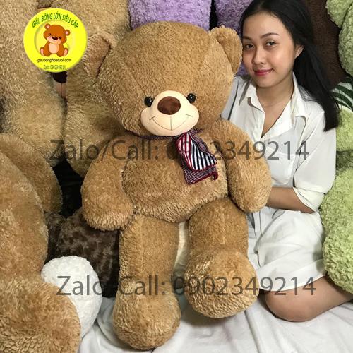 Gấu bông khăn len ngực tim Mỹ 1m2
