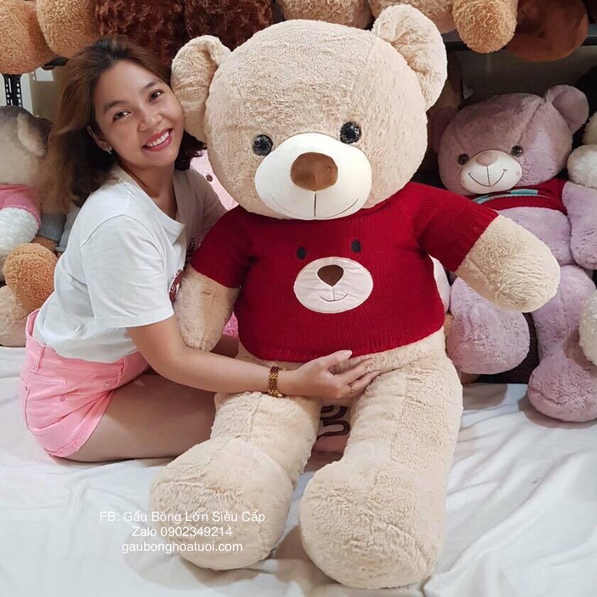 Gấu teddy áo len lông mịn 1m5