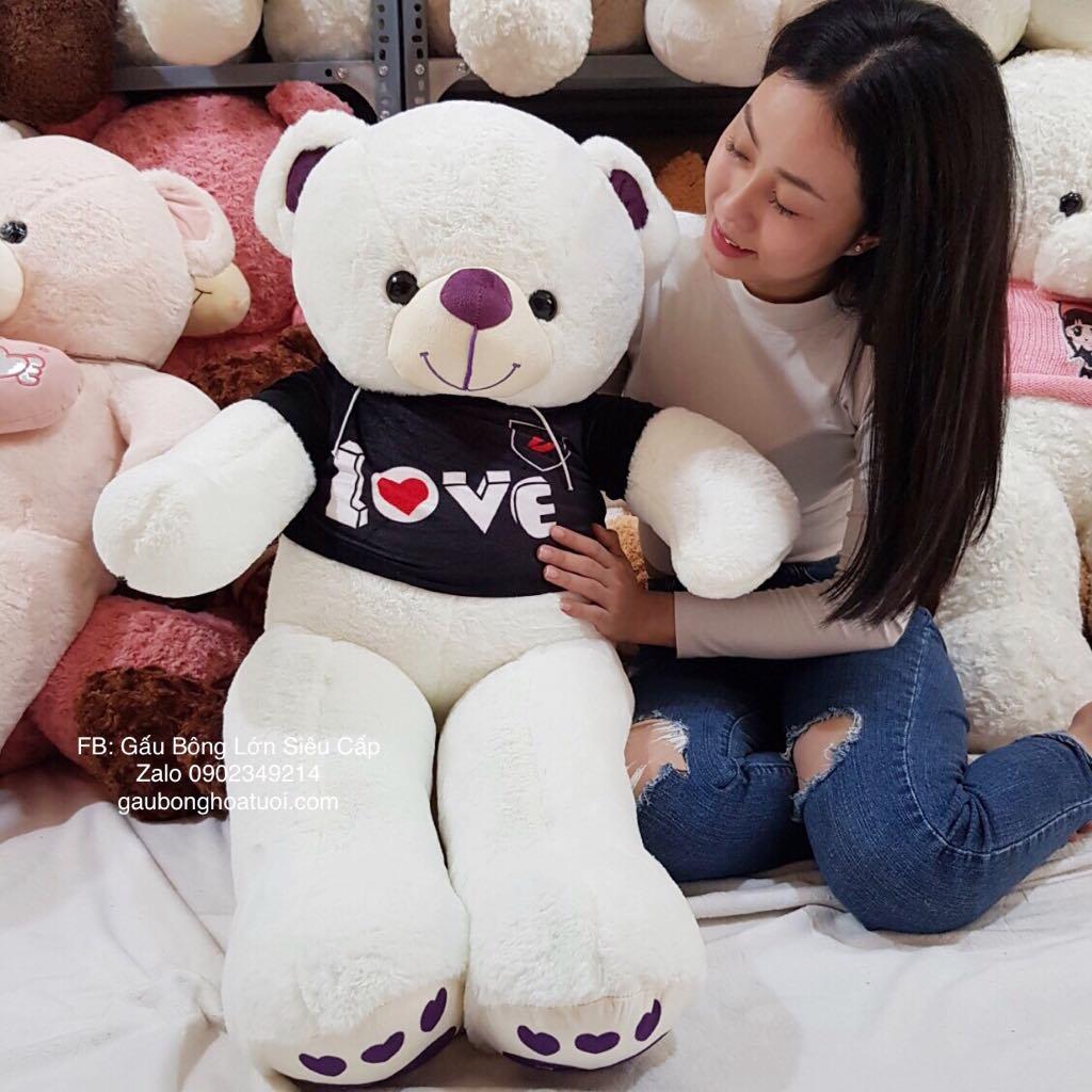 Gấu bông trắng áo nhung tình yêu1m4