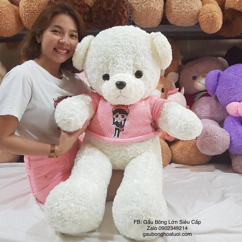 gấu bông màu trắng 1m3