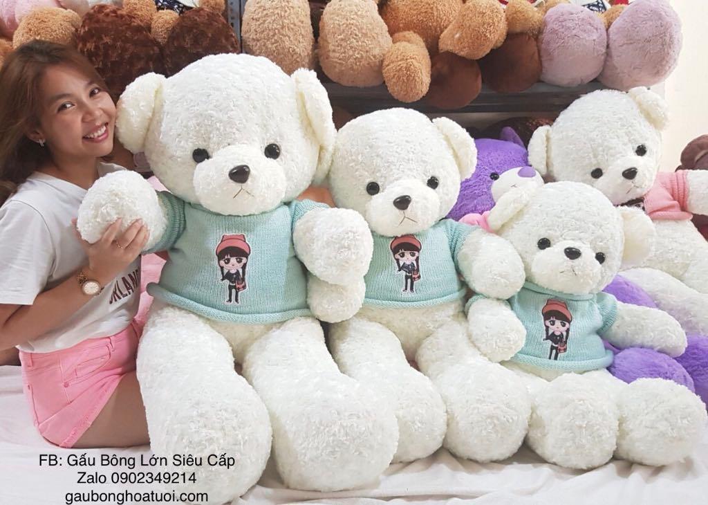 Gấu Teddy trắng lông xoắn 1m2