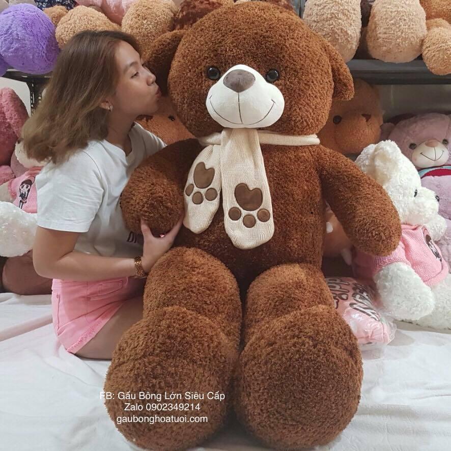 Gấu bông Nâu Choco lông xù 1m6