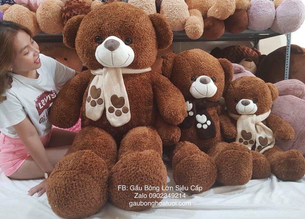 Gấu bông màu nâu lông xù 1m4