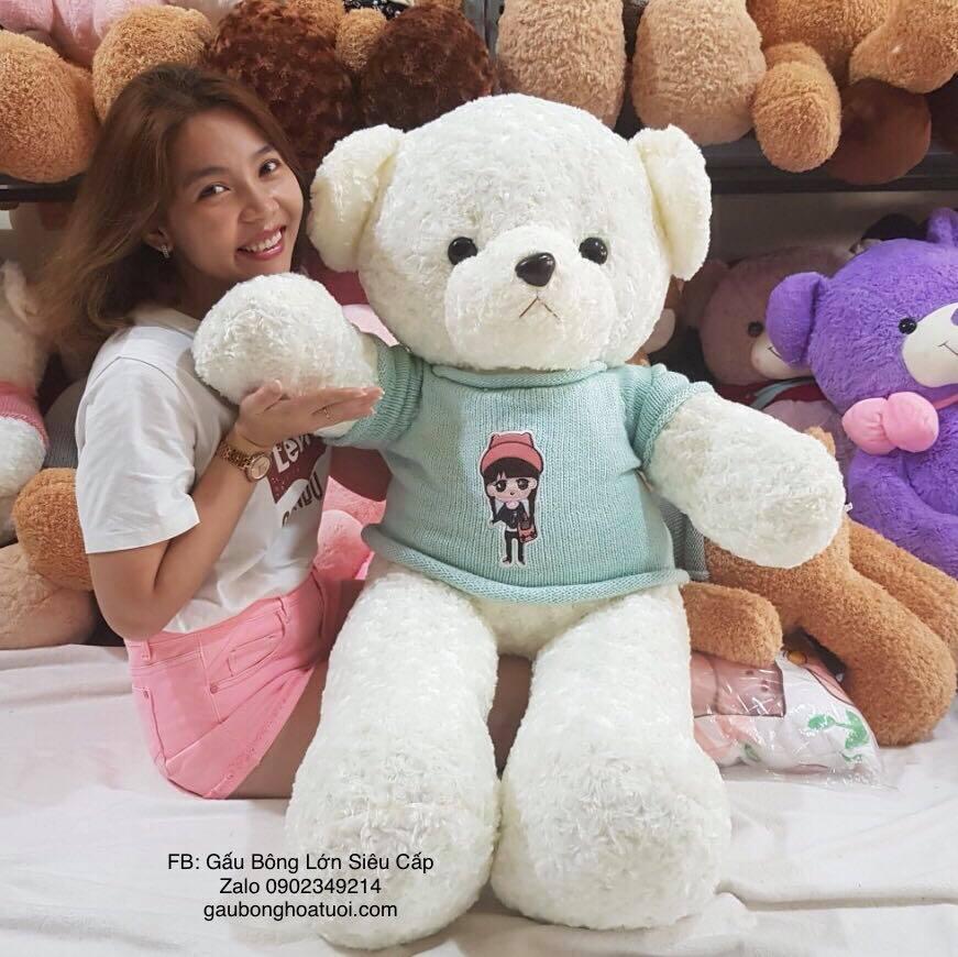 gấu teddy trắng 1m2 cao cấp