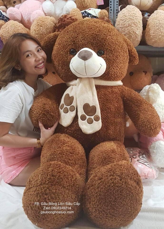 Gấu bông cỡ lớn lông xù 1m6