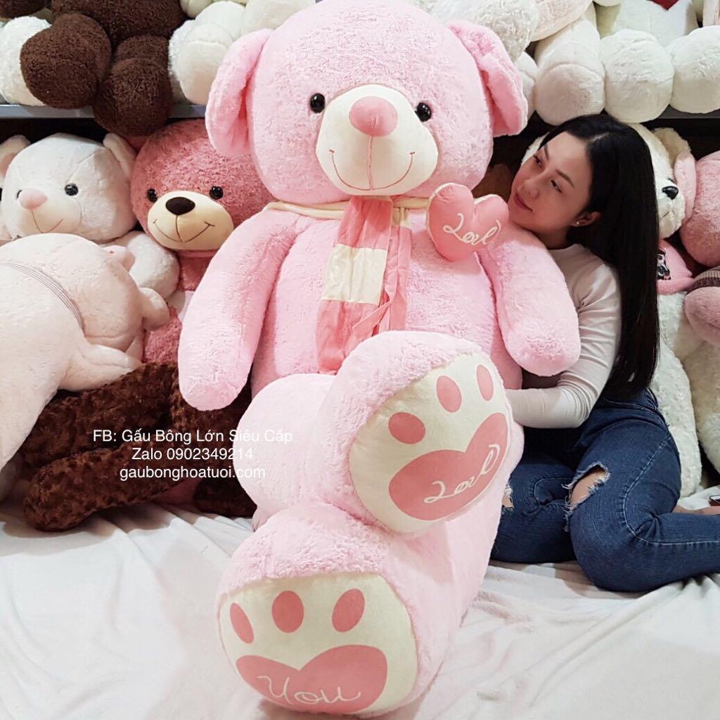 Gấu nhồi bông hồng lông tim khổ 1m4