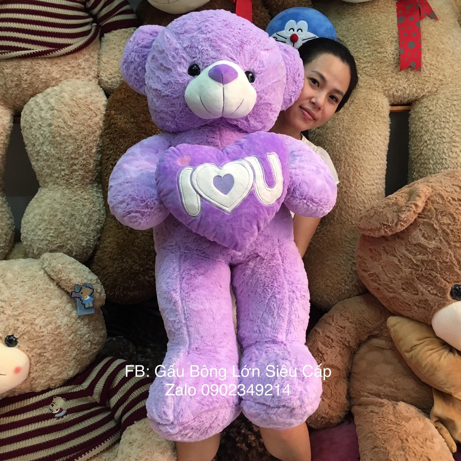 Gấu teddy tím ôm tim
