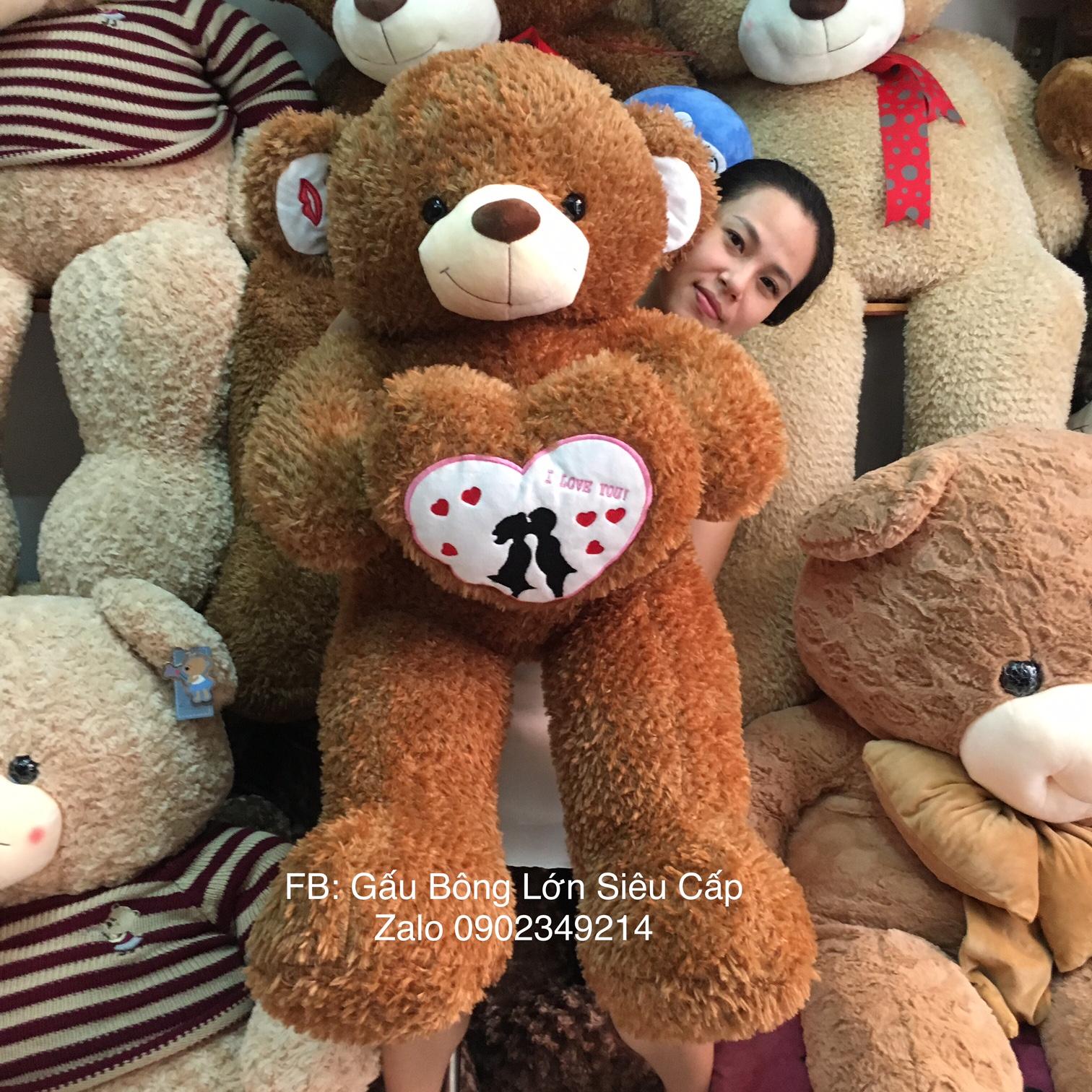 Gấu teddy ôm tim Couple Kiss