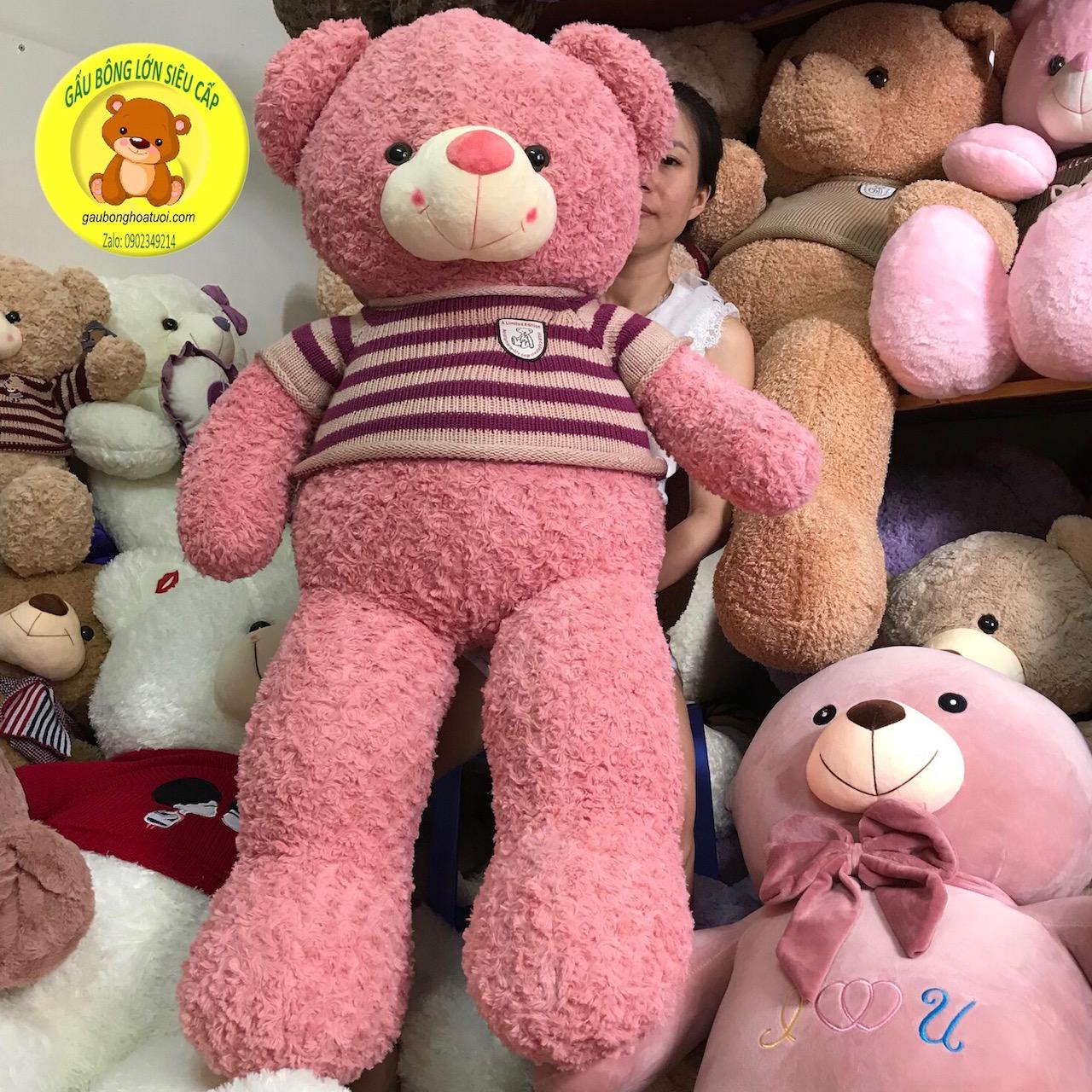 Gấu bông lông xoắn hồng ngoại nhập