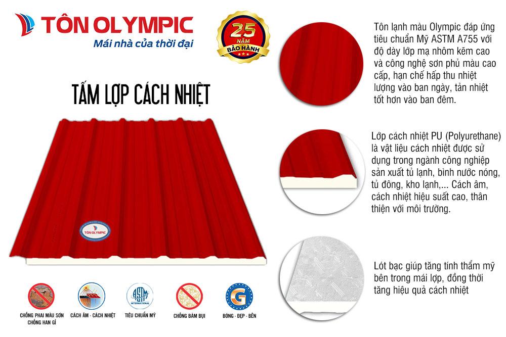 Cấu tạo tấm lợp cách nhiệt Olympic