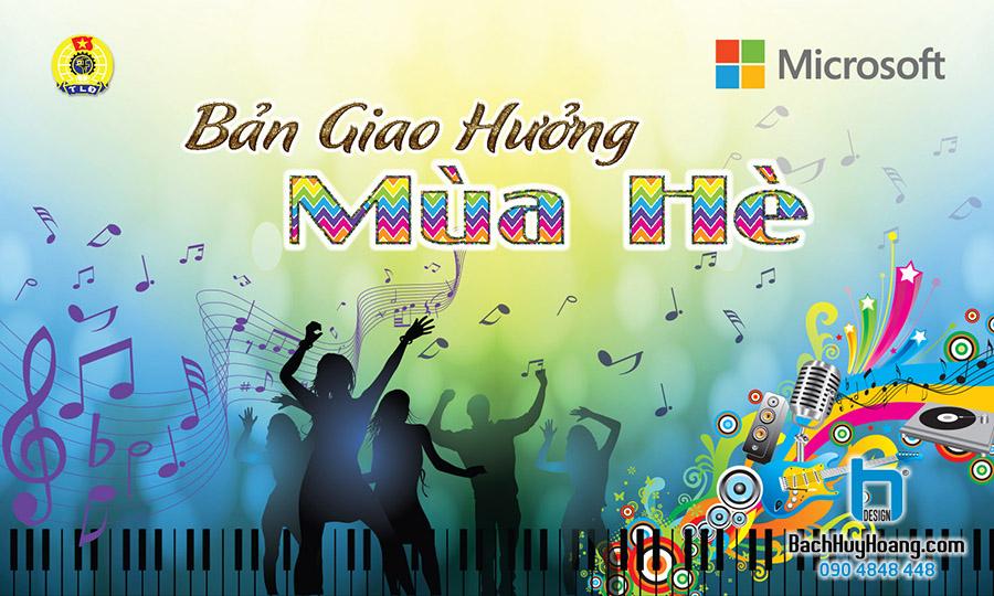 Thiết Kế Backdrop - Phông Sân Khấu - Bản Giao Hưởng Mùa Hè - Microsoft