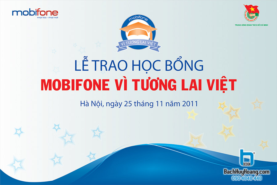 Thiết Kế Backdrop - Phông Sân Khấu - Lễ Trao Học Bổng Mobifone Vì Tương Lai Việt