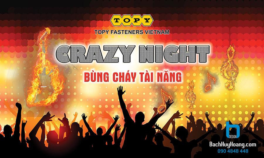 Thiết Kế Backdrop - Phông Sân Khấu - Crazy Night TOPY