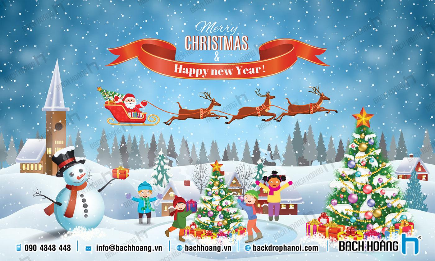 Thiết Kế Backdrop - Phông Noel Giáng Sinh Merry Christmas 118