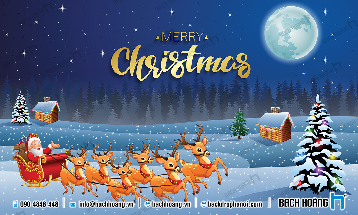 Thiết Kế Backdrop - Phông Noel Giáng Sinh Merry Christmas 99