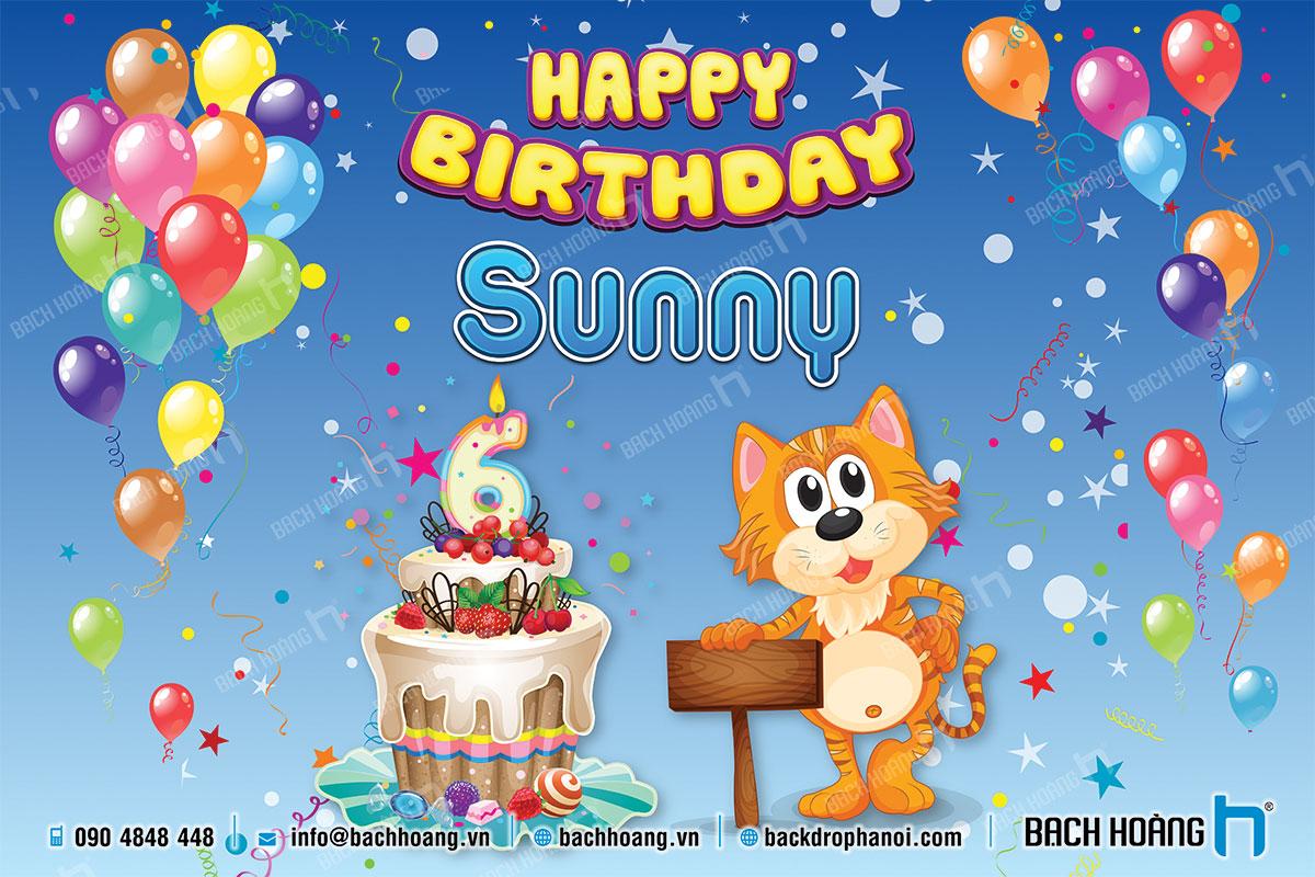 Thiết Kế Backdrop Sinh Nhật - Phông Sinh Nhật 67 - Mèo Sunny