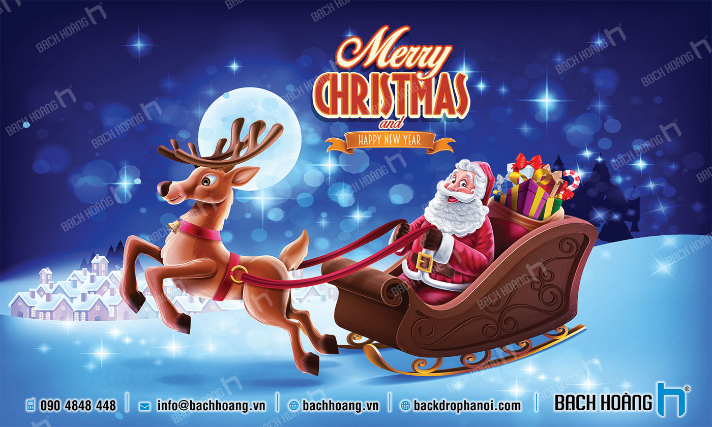 Thiết Kế Backdrop - Phông Noel Giáng Sinh Merry Christmas 01
