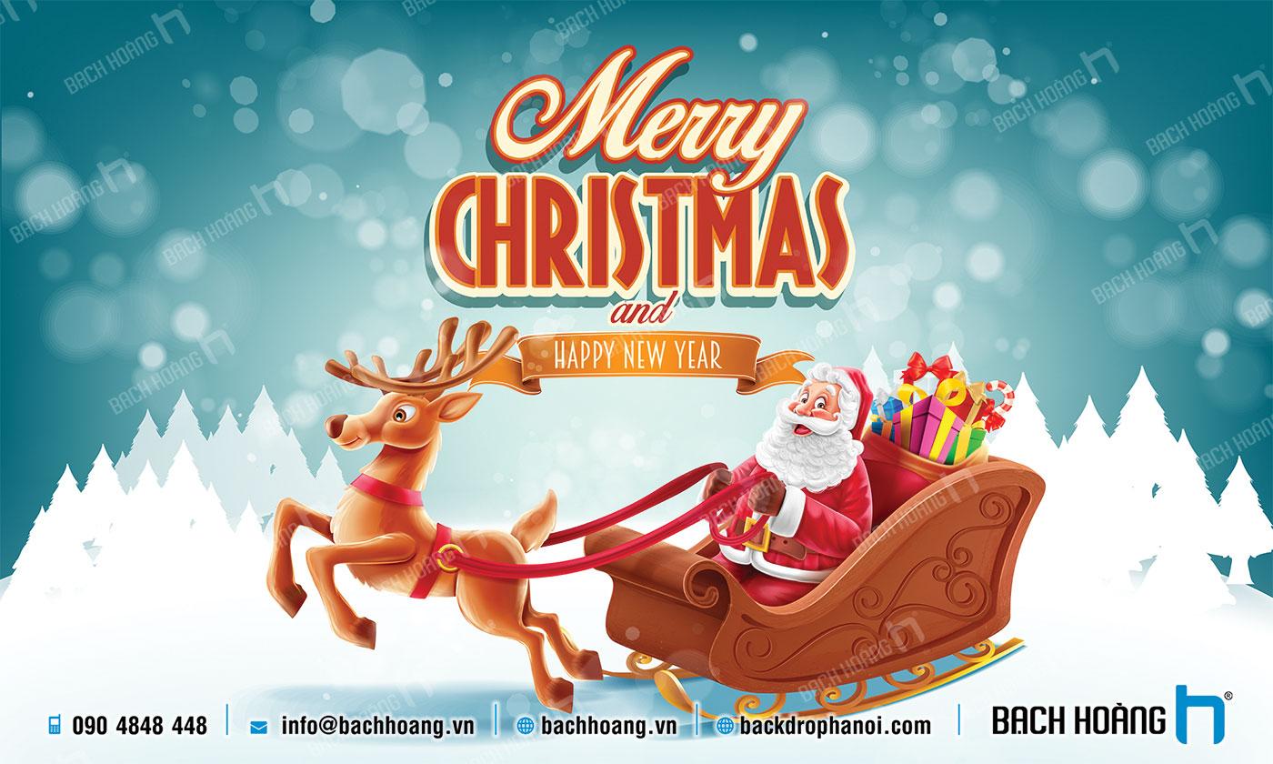 Thiết Kế Backdrop - Phông Noel Giáng Sinh Merry Christmas 02