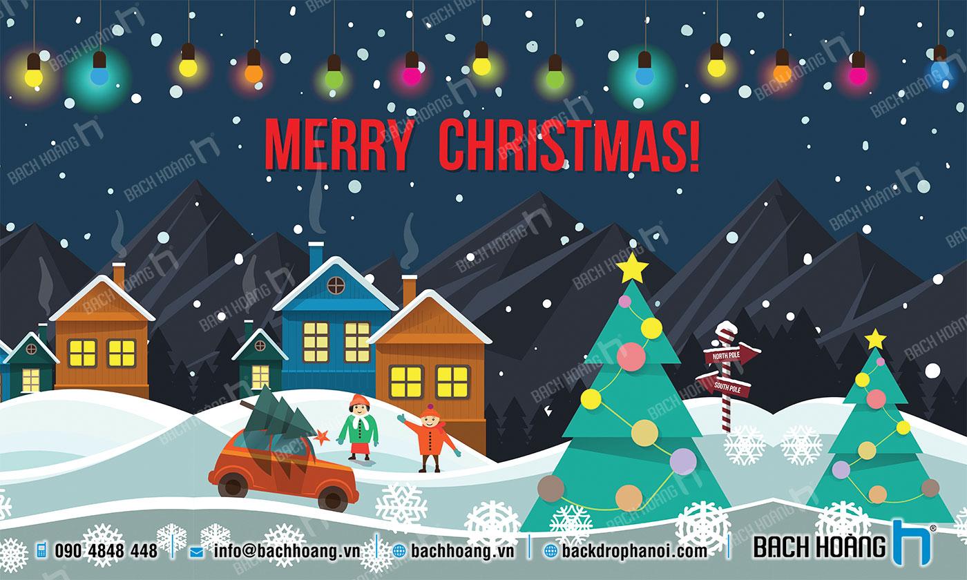 Thiết Kế Backdrop - Phông Noel Giáng Sinh Merry Christmas 09