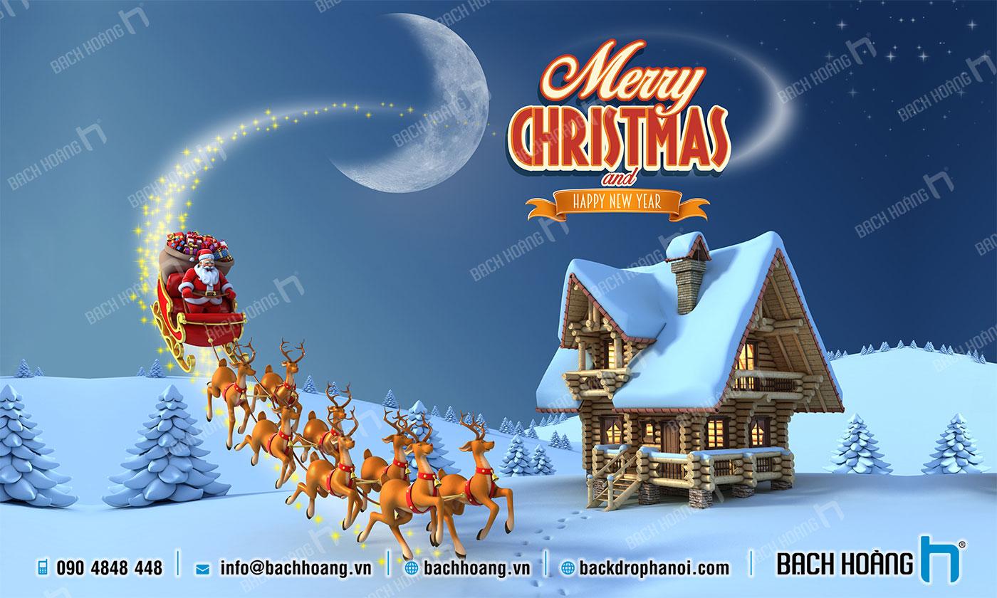 Thiết Kế Backdrop - Phông Noel Giáng Sinh Merry Christmas 80