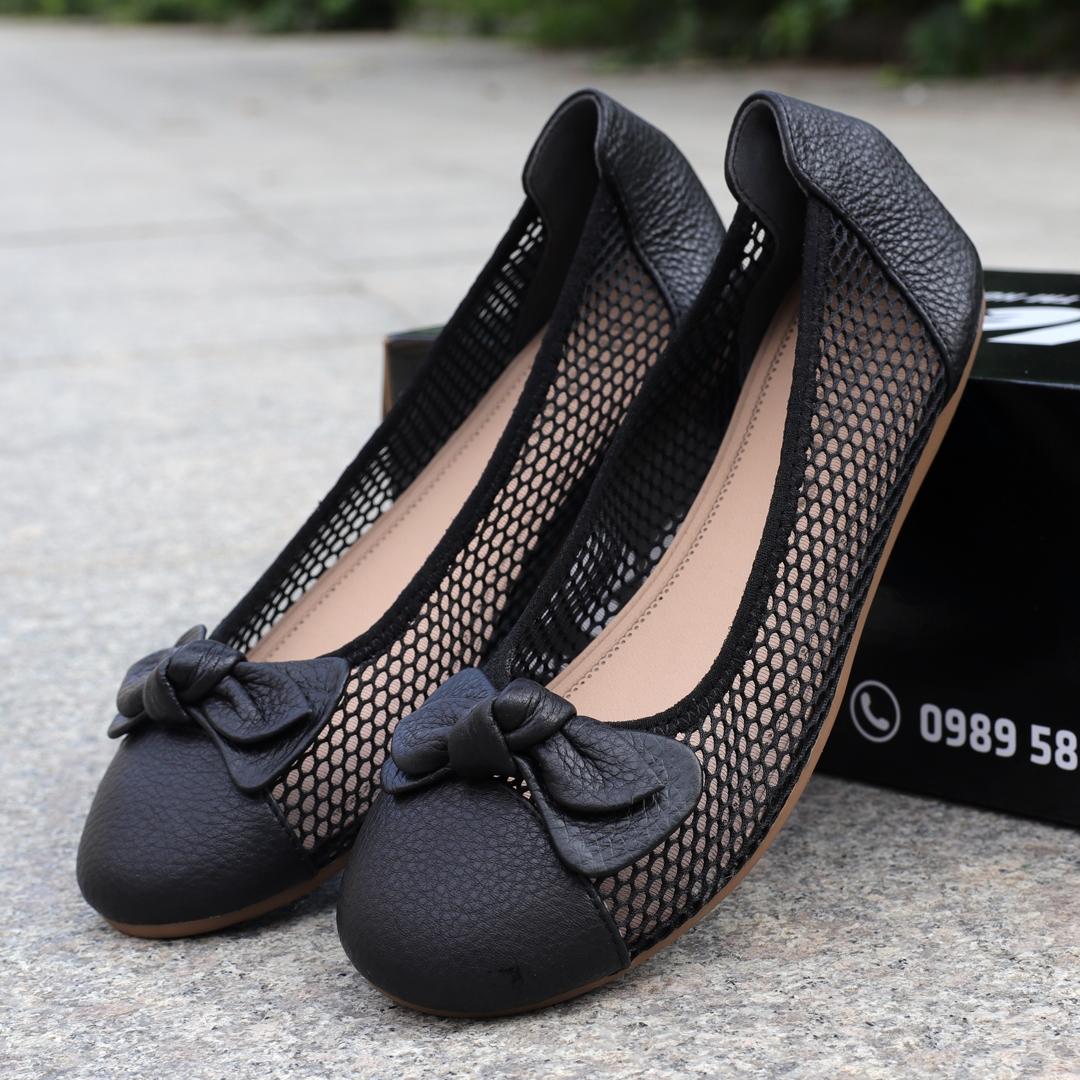 Giày bệt nữ da bò lưới thoáng cho mùa hè