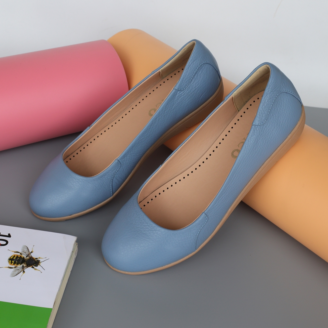 Giày đế xuồng da bò mũi tròn 3p màu xanh