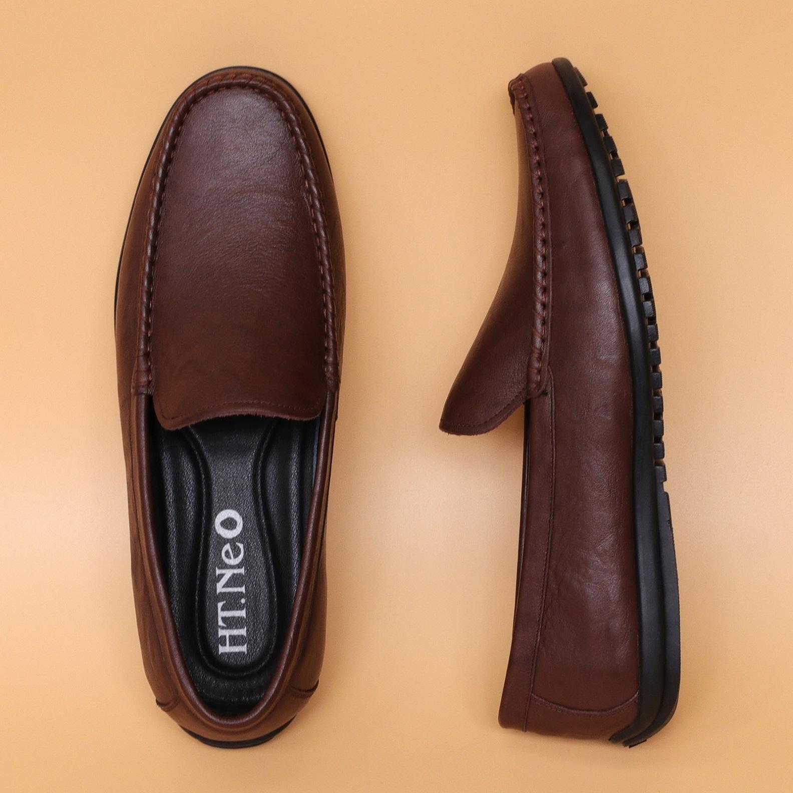 Giày mọi nam da bò in gân