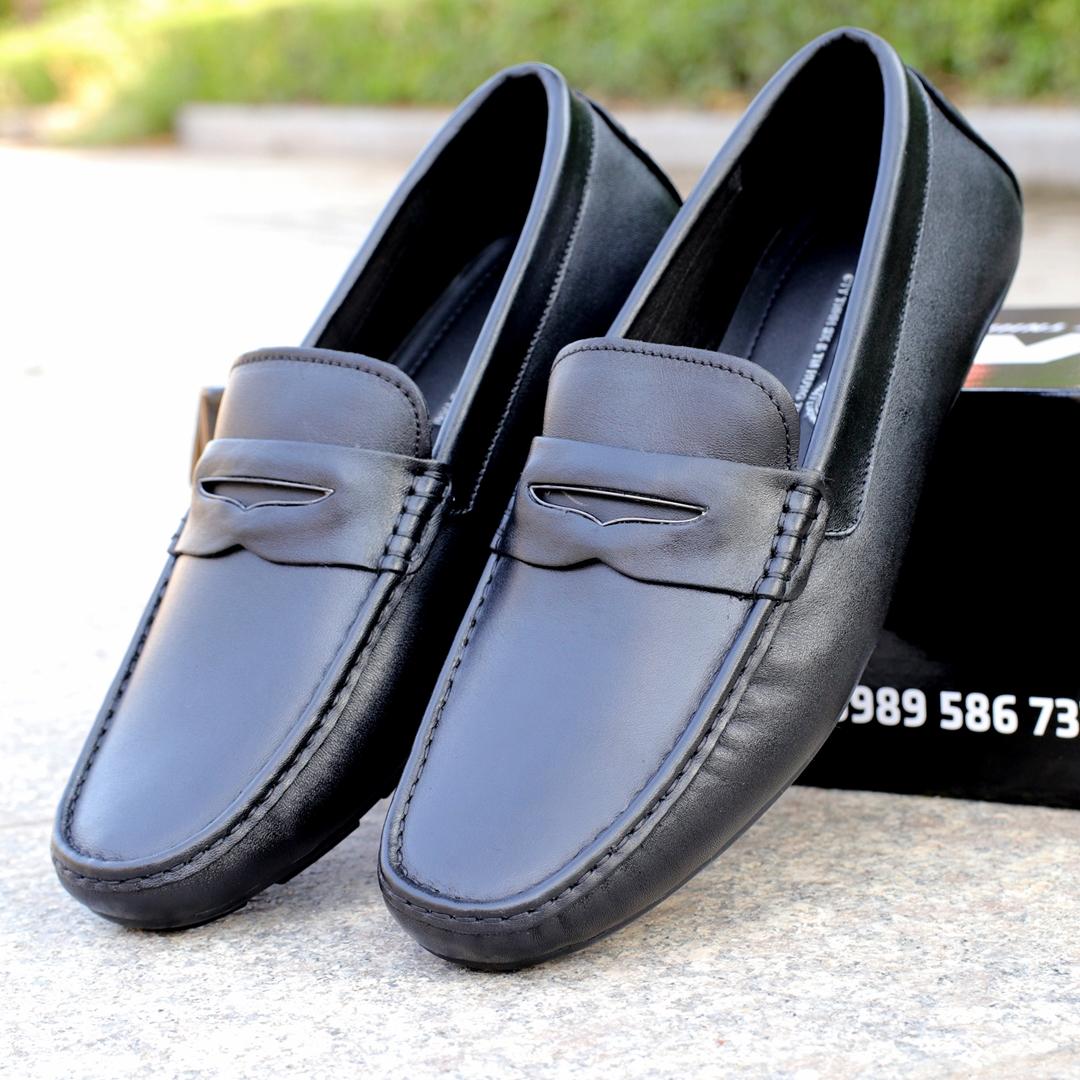Giày mọi nam da bò đai tim