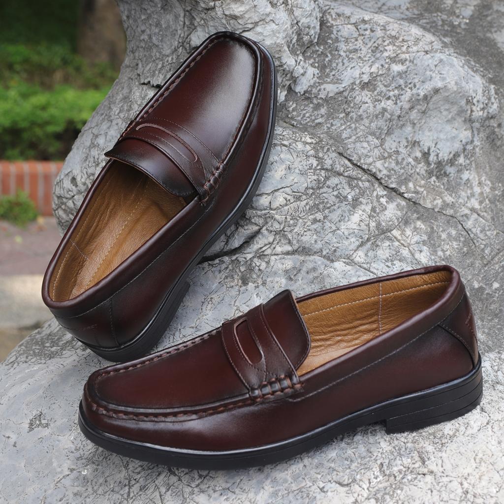 Giày lười nam da bò màu nâu