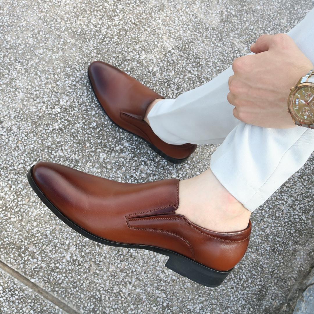 Giày lười nam da bò đế cao su