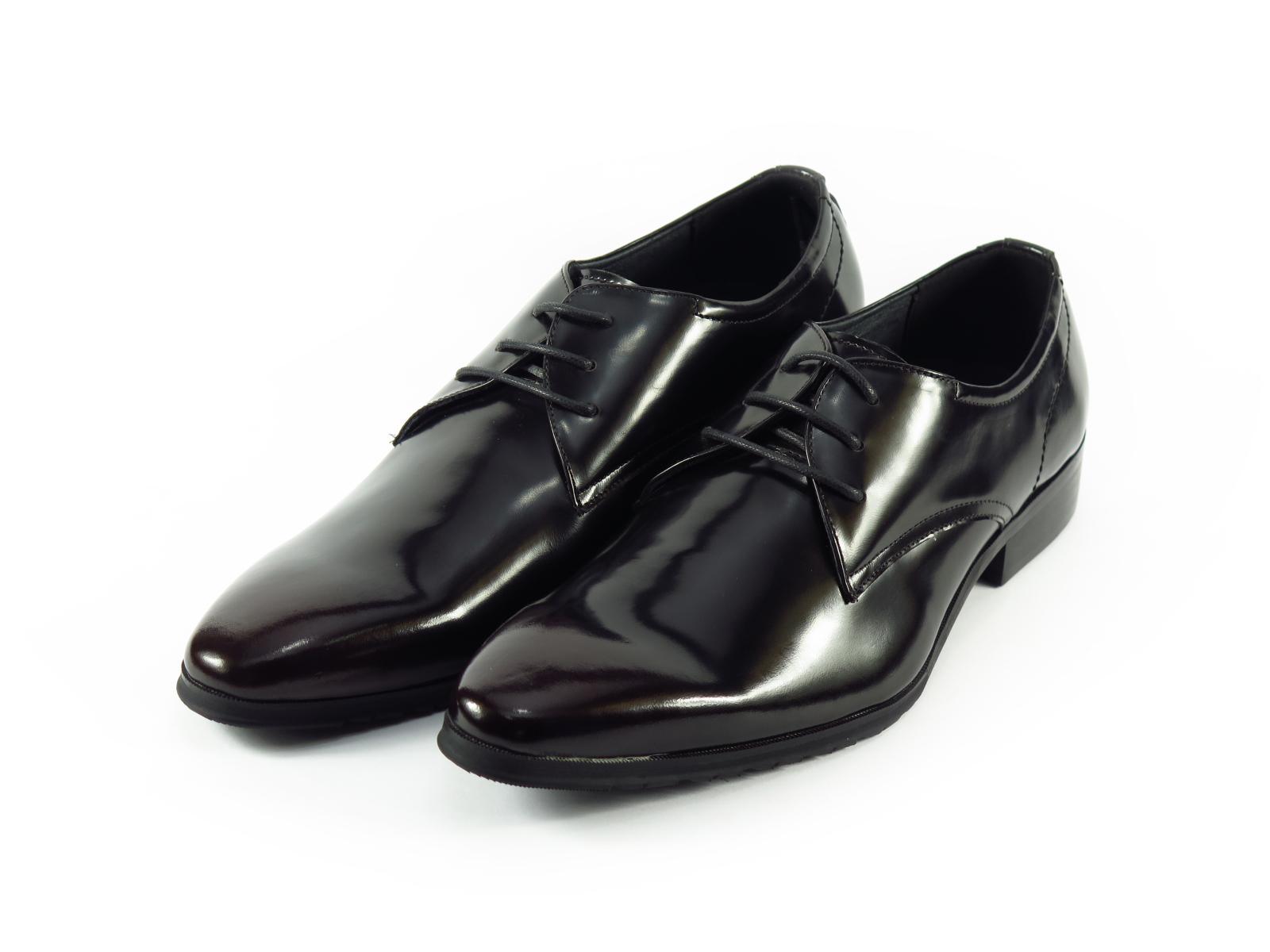 Giày nam buộc dây, da trà màu đen